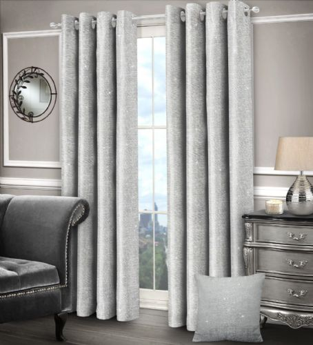 SILVER GLAM SPARKLE DESIGN LINED RINGTOP EYELET STYLISH SHIMMER LUXURY MODERN CURTAINS